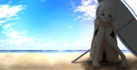 Konachan.com - 217460 aliasing barefoot beach bikini blue_eyes clouds gray_hair kantai_collection nanahane_fl shade swimsuit umbrella umikaze_(kancolle) water