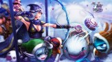 Konachan.com - 213825 ashe bibiko bow_(weapon) breasts cape christmas cleavage elbow_gloves goggles group hat male pointed_ears sejuani snow tristana veigar weapon