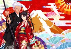 Konachan.com - 217050 bow_(weapon) dark_skin fate_(series) headdress kimono male ponytail short_hair tohsaka_rin weapon white_hair yaoshi_jun