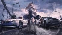 Konachan.com - 219727 alice_in_wonderland alice_(wonderland) car gun mad_hatter terabyte_(rook777) weapon white_rabbit