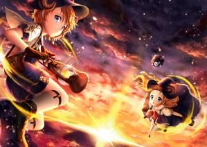 konachan-com-200044-blue_eyes-brown_hair-clouds-laejjo-long_hair-moon-original-short_hair-sky-sunset-water-witch