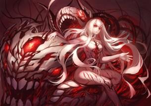 konachan-com-220637-anthropomorphism-blood-central_hime-gods-horns-kantai_collection-long_hair-orange_eyes-red_eyes-white_hair