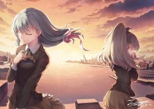 konachan-com-226653-2girls-brown_hair-building-city-green_hair-kumano_kancolle-long_hair-ponytail-ribbons-signed-skirt-sky-sunset-suzuya_kancolle