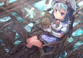 konachan-com-202105-apron-blue_eyes-blue_hair-boots-fairy-gloves-hat-leaves-original-saraki-skirt
