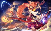 konachan-com-219505-bow_weapon-foxgirl-hoodie-katana-long_hair-orange_hair-pixiv_fantasia-purple_eyes-red_eyes-ryuuzaki_itsu-sword-tail-weapon