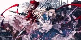 konachan-com-220759-animal_ears-apron-big_bad_wolf-blonde_hair-blue_eyes-bow-dress-hat-hoodie-mad_hatter-male-original-ra-bit-sword-tie-weapon-white_rabbit