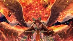 konachan-com-223545-armor-bow-brown_hair-cape-dress-long_hair-orange-red_eyes-reiuji_utsuho-touhou-weapon-wings-xuanlin_jingshuang