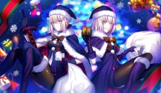 konachan-com-230719-2girls-blonde_hair-boots-bow-cape-christmas-fate_series-gloves-hat-pantyhose-saber-saber_alter-santa_hat-short_hair-snow-sword-weapon-yellow_eyes