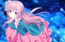 konachan-com-203858-ajiriko-blonde_hair-clouds-dress-hata_no_kokoro-long_hair-mask-night-purple_eyes-sky-stars-touhou