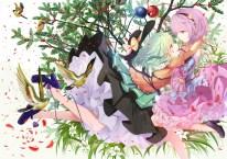 konachan-com-206883-2girls-animal-bird-cloudy-r-flowers-hat-headband-hug-komeiji_koishi-komeiji_satori-leaves-petals-short_hair-shoujo_ai-skirt-touhou-tree