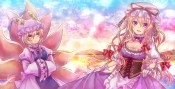 konachan-com-208044-2girls-animal_ears-blonde_hair-bow-breasts-cleavage-dress-foxgirl-gloves-hat-long_hair-neme-short_hair-sunset-tail-touhou-yakumo_ran-yakumo_yukari