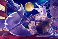 konachan-com-229977-bow-breasts-building-cleavage-clouds-foxgirl-garter-gloves-katana-moon-night-ofuda-original-rooftop-seihou-sky-stars-sword-tail-tattoo-weapon