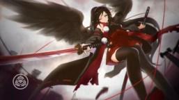 konachan-com-231533-aqua_eyes-black_hair-cang_yue_xue_feng-japanese_clothes-katana-long_hair-original-pointed_ears-ribbons-sword-thighhighs-weapon-wings-wink