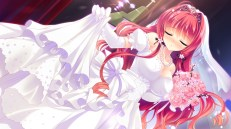 Konachan.com - 204312 akemiya_sakura breasts cabbit cleavage dress game_cg love_love_life rubi-sama skirt skirt_lift skyfish wedding_attire