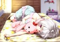 Konachan.com - 205099 bed breasts caesar8149 necklace no_bra pajamas red_eyes senki_zesshou_symphogear short_hair white_hair yukine_chris