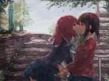 Konachan.com - 205203 2girls black_hair bow kiss love_live!_school_idol_project nishikino_maki red_hair seifuku shoujo_ai skirt stairs tree white_crow yazawa_nico