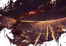 Konachan.com - 205237 city long_hair moss_(2225028) night original scenic sky stars