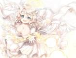 Konachan.com - 205999 angel aqua_eyes breasts cleavage dress elbow_gloves halo naka_akira original wings