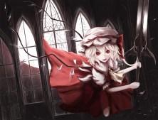 Konachan.com - 231111 blonde_hair bow building dress flandre_scarlet hat moosu193 red_eyes touhou vampire weapon wings