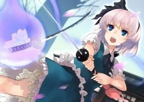 Konachan.com - 234768 blue_eyes gray_hair headband konpaku_youmu myon nuqura petals short_hair sword touhou tree weapon