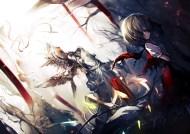 Konachan.com - 237712 dress flandre_scarlet kusakanmuri red_eyes ruins short_hair sword torn_clothes touhou vampire weapon wings
