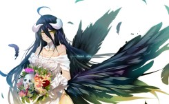Konachan.com - 206181 albedo bba_biao breasts cleavage collar elbow_gloves feathers flowers horns overlord skull wings yellow_eyes