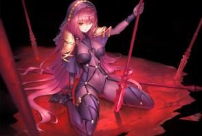 Konachan.com - 236636 bodysuit breasts duan_henglong fate_grand_order fate_(series) headdress long_hair purple_hair red_eyes skintight spear weapon