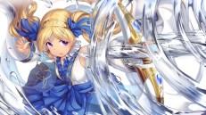 Konachan.com - 238503 blonde_hair bow_(weapon) chain emily_stewart idolmaster idolmaster_million_live! karisuwaya long_hair purple_eyes twintails water weapon