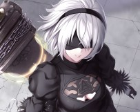 Konachan.com - 239390 blindfold breasts cleavage cropped gloves headband nier nier-_automata short_hair sword waifu2x weapon white_hair yukikaze_(aaassszzz)