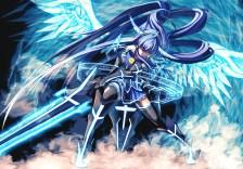Konachan.com - 240010 aoki_reika blue_hair long_hair merontomari precure smile_precure! sword weapon wings
