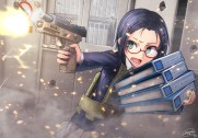Konachan.com - 240248 blue_hair book dreadtie glasses green_eyes gun original seifuku short_hair signed skirt weapon