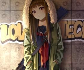 Konachan.com - 240415 brown_hair cropped graffiti gun hoodie kentaurosu long_hair original red_eyes seifuku waifu2x weapon
