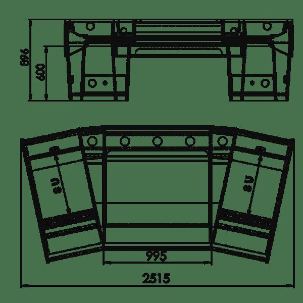 Zaor Matrix Studio Desk Technical Drawing with Dimension