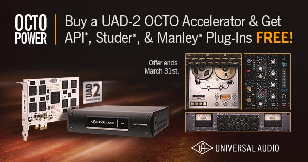 Get API, Studer & Manley Plug-Ins FREE when you buy any UAD-2 OCTO DSP Accelerator Card from Kazbar Systems