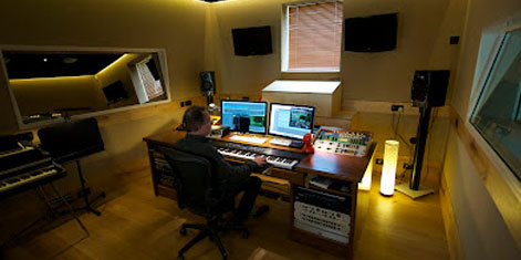 Damian Montagu Radial Music Studios mixing suit and control room