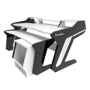 StudioDesk Commander V2 Desk with keyboard stand and rack White Surface