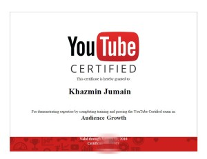 Khazmin YouTube certificate