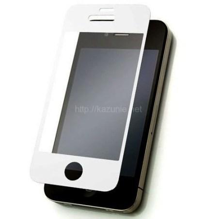 貼り直しが簡単 気泡知らず iPhone4/4S対応 硬質保護フィルム ホワイト 反射防止タイプ