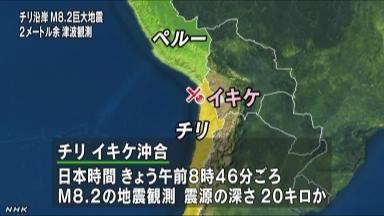 南米チリの沖合で、日本時間の午前9時前、マグニチュード8.2の巨大地震ほか今日の #スクラップ #2014 #4/2