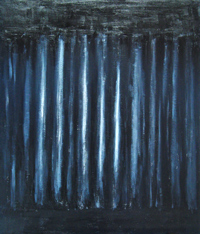 chiaroscuro style, black and white, dark, black minimalism, abstract unidentified solid object, abstract repetition, acrylic painting #1954, 2004 | Kazuya Akimoto Art Museum