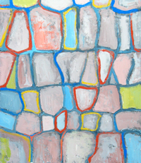 cell pattern, colorful, pale pastel color lyrical abstraction, abstract nature scene, acrylic painting #2174, 2004   Kazuya Akimoto Art Museum