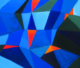 One thousand and one nights, Arabian nights theme, geometric fragmentary blue shade pattern, geometric cubism, abstract cubism, classical literature theme, abstract seascape, abstract blue sea scene, acrylic painting#2275, 2004 | Kazuya Akimoto Art Museum
