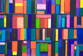 abstract, geometric, rectanguler, colorful painting 2006