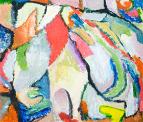 abstract expressionism, color areas, colorful, sound, music theme, tachisme, tachism, abstract painting #5381, 2006 | Kazuya Akimoto Art Museum