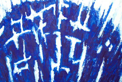 abstract blue symbolism, contemporary tachism, tachisme, tache, stains, blots, lyrical abstraction, abstraction lyrique, blurring, oozing, abstract blue acrylic painting# 5473, 2006 | Kazuya Akimoto Art Museum