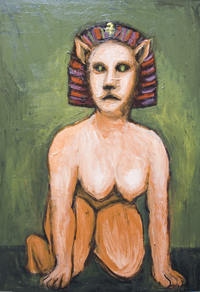 New, legendary creature, greek, egyptian mythological composite creature, surrealism, female, woman portrait, strange, odd, weird animal,animal symbolism, odd creature, human figure acrylic painting #7118, 2008| Kazuya Akimoto Art Museum