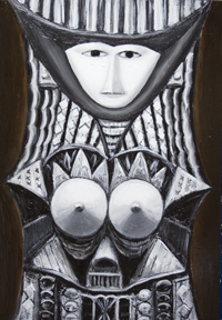New, contemporary Japonisme, Japanese pop art, anime, manga style, literature, fairy tale, fable, surrealism woman portrait painting, black and white, monotone, pseudo-relief, 3d, decorative, ornamental, odd, strange, human, female figure, dark, night, raw art, symbolism, acrylic painting #7315, 2008 | Kazuya Akimoto Art Museum