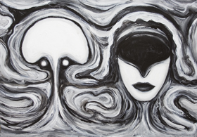 New, surrealism, faces, human head juxtaposition, virtual love, marital theme, black and white symbolism painting, number 2 symbolism, distortion, deforme, odd, strange, allegorical, surreal expressionism, man and woman , cyberspace love, facial expressions, acrylic painting # 7330, 2008 |Kazuya Akimoto Art Museum