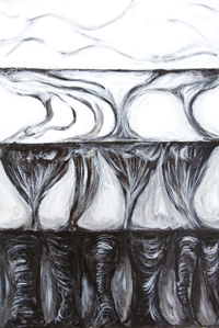 New, black and white, the judgment day theme, abstract surrealism, black and white surrealism, 4 frame manga style, traditional, literature, medieval, traditional Christianity, acrylic painting #8184, 2008 | Kazuya Akimoto Art Museum