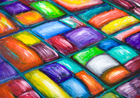 New, colorful pop 3d abstract cityscape painting, colorful candy color pattern, abstract streetscape pattern, Japanese pop art, pattern symbolism, abstract street lines, colorful acrylic painting #8221, 2009 | Kazuya Akimoto Art Museum